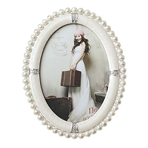 JASMINE CURTIS European Vintage Oval Shiny Silver with Pearl White Enameled and Clear Rhinestones Jeweled Metal Photo Frame,Silver White,4x6 inches