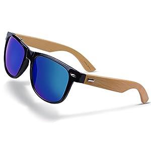 MAOVI Sunglasses Bamboo Legs Eyewear Mirrored Flat Lenses Classic Goggles UV400