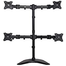 """VIVO Quad Monitor Mount Fully Adjustable Desk Free Stand for 4 LCD Screens up to 27"""" (STAND-V004P)"""
