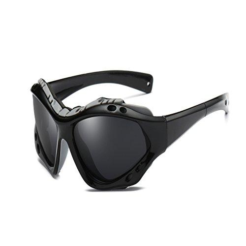 1ee2258031 LUIHUIYUAN Al Aire Libre Deportes Espejo Colorido Viento Arena Alpinismo  Gafas De Sol Polarizadas,Black