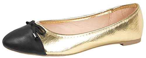 Lora Dora Womens Flat Pumps Ladies Glitter Metallic Ballet Ballerina Dolly Work Shoes Size UK 3-8 Gold
