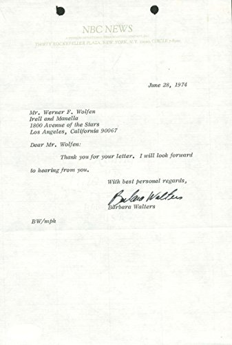Barbara Walters NBC News Signed Autographed 1974 Typed Letter PSA/DNA