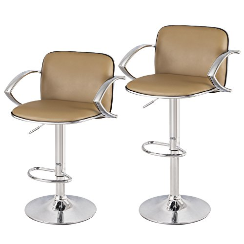 Arm Adjustable Height Set (Asense Leather Height Adjustable Bar Stools Chair with Armrest & Chrome Footrest Base (Set of 2) (Beige))