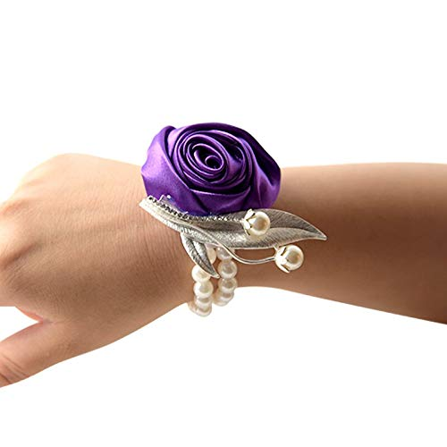 Flowers For - Rose Wrist Corsage Bridesmaid Sisters Hand Flowers Artificial Bride Decoration Bridal Prom S6400 - Grey Blush Burgandy Stem Vase Flower Purple Carnations Silk Green Ring Magnol