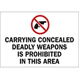 Brady 10'' X 14'' X .06'' Black/Red On White B-401 Polystyrene Safety Sign''CARRYING CONCEALED DEADLY WEAPONS IS PROHIBITED IN THIS AREA''