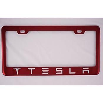 Amazon.com: Tesla Red License Plate Frame: Automotive