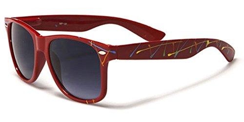 Retro 80's Fashion Wayfarer Sunglasses - Color Splash Ornament - - Splash Colour Red