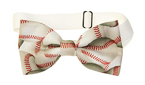 Mens Dirty Baseball Pre-Tied Cotton Bow Tie on Adjustable Twill Strap