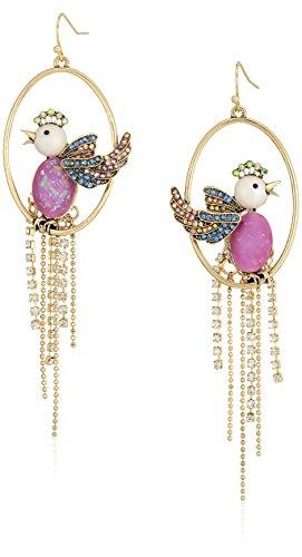 Betsey Johnson Womens Blooming Betsey Purple Bird Cage Orbital Drop Earrings, One Size