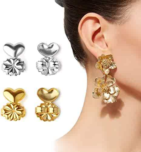 2 Pairs of Earring Lifters Backs - Adjustable Hypoallergenic Silver Color and Gold Color