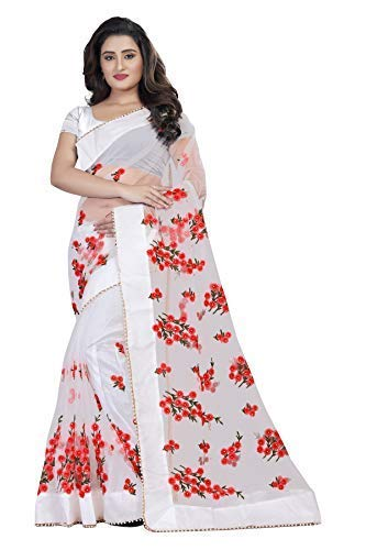Orangesell Women S Mono Net Embroidery Work Saree With Blouse Piece
