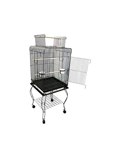 YML 20-Inch Open Top Parrot Cage with Stand, Black