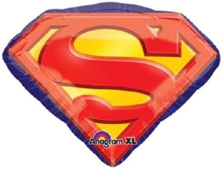 (1 XXL 31' foil party BALLOON new SUPERMAN EMBLEM 'S' birthday GIFT decor FAVORS)
