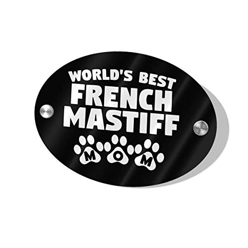 (SINGDFH432 Worldâ€s Best French Mastiff Mom Oval-Shaped Door Suite Wall Sign for House Door Business and Office Door Knob Hanger Sign 5.5 X 7.5 in)