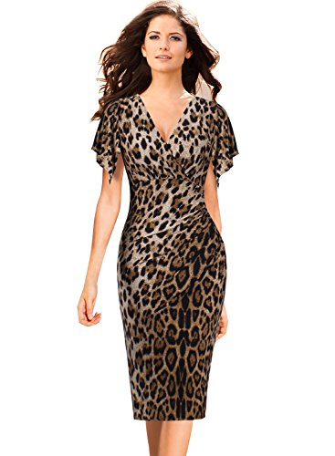 VFSHOW Womens V Neck Flutter Sleeves Ruched Casual Cocktail Faux Wrap Dress 939 Leo - Sexy Leopard Print Dress