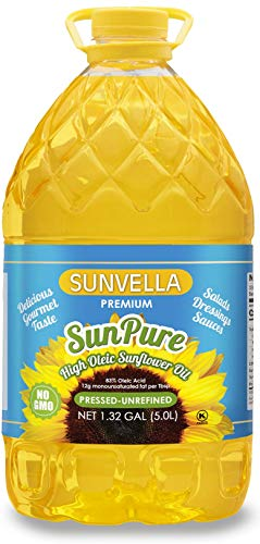SUNVELLA SunPure Non-GMO High Oleic Sunflower Oil, Pressed-Unrefined 1.32 GAL (5.0L)