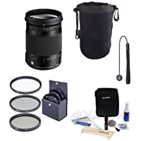 Sigma 18-300mm F3.5-6.3 DC Macro OS HSM Lens for Nikon DSLR Cameras - Bundle With 72mm Filter Kit, Lens Pouch Large, Cleaning Kit, Capleash