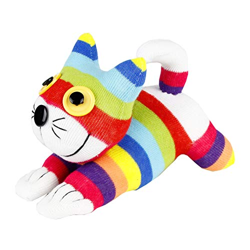 Handmade Rainbow Striped Sock Cheshire Cat Doll Baby Gift Toy