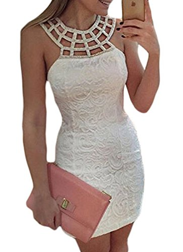 Traditional Greek Dress (IF FEEL Women's Chic Sexy Round Neck Hollow Out Paisley Pattern Office Bodycon Mini Dress - White Size S)