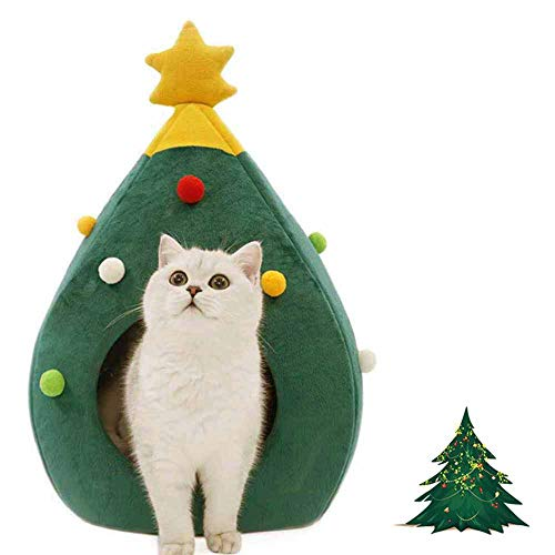 Ushang Pet Chirstmas Tree Cat House Bed, Green Portalbe Indoor Pet House for Kitten Cat Cave Tent