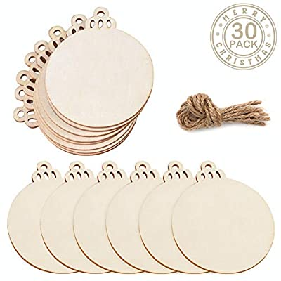 "PartyTalk 30pcs Round Wooden Discs with Holes, 3.5"" Unfinished Predrilled Natural Wood Slices for Crafts Centerpieces, Wooden DIY Christmas Ornaments Hanging Decorations"