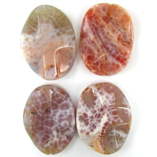 buyallstore 40mm Pink Orange Crab fire Agate Wavy Oval Pendant Bead -