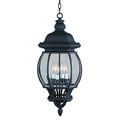 Maxim 1039BK, Crown Hill, 4-Light Outdoor Hanging Lantern, Black