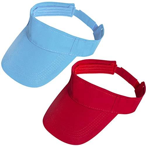 Loritta 2 Pack Sun Sports Visor Hats Adjustable Summer Cotton Cap Men Women