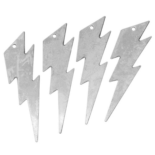 Beadaholique Antiqued Silver Plated Medium Lightning Bolt Pendant Stamping 44 x 12mm (4)