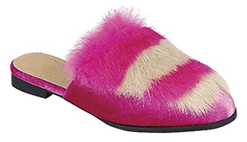 Best Two Tone Hot Pink Women Walking Slippers Mule Fur Fuzzy Closed Toe Backless Slipon Fashion Sexy Adult House Bedroom Shoe Christmas Idea Rush Sale for Ladies Teen Girl (Size 6.5 Pink)