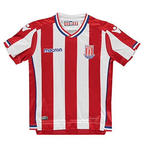 Macron Stoke City Home Jersey 2017 2018 Juniors Red/White Football Soccer Shirt 9-10 Years ()