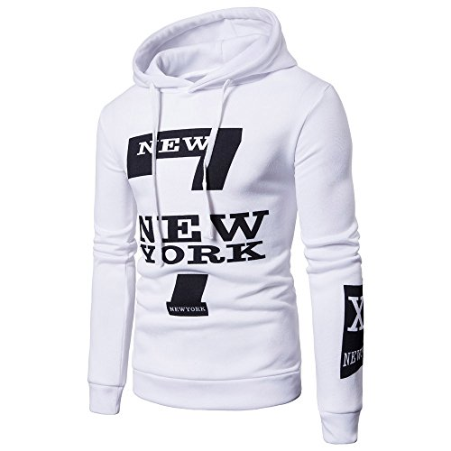 iYBUIA Men's Long Sleeve Printed Hoodie Hooded Sweatshirt Top Tee Outwear Blouse(White,M) -