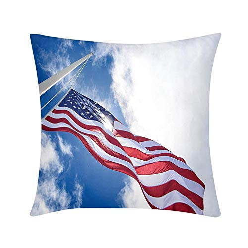 Luxury Custom Art Design Photos Throw Pillow United States Flag at Half mast Looking up with Sun Design for Sofa Bedroom Office Car Decorate ()