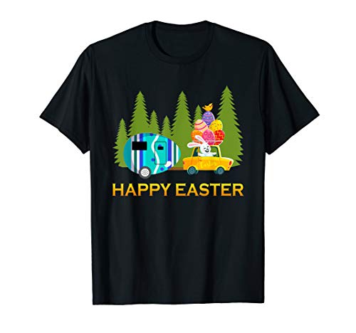 Bunny Riding Camping Van Happy Easter Tshirt Camper Gifts -