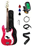 Crescent Electric Bass Guitar Starter Kit – Pink Color (Includes CrescentTM Digital E-Tuner) thumbnail
