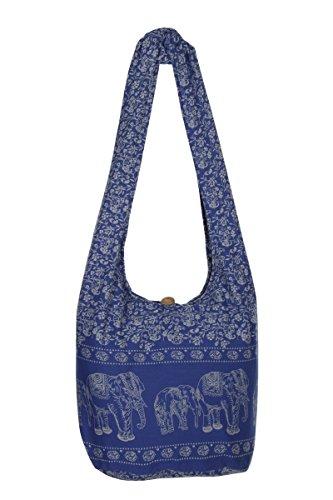 elefante nbsp;– Thai de viaje azul nbsp;100 diseño nbsp;playa hippy Boho blanco hombro nbsp;– bolsa de Gypsy algodón Sling mano de bolso bolsa y AwA75qxY