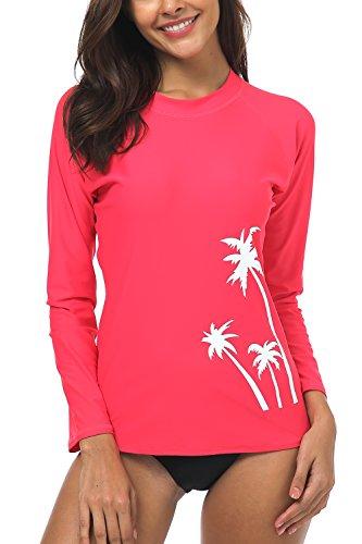 Printed Crew Rash Guard - Wetopkim Women's Rashguard Long Sleeve UV Protection Printed Surfing Swimsuit Swimwear XXL