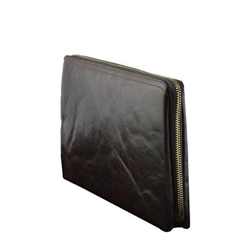 Echtes Leder Unisex Clutch Farbe Dunkelbraun - Italienische Lederwaren - Herrentasche