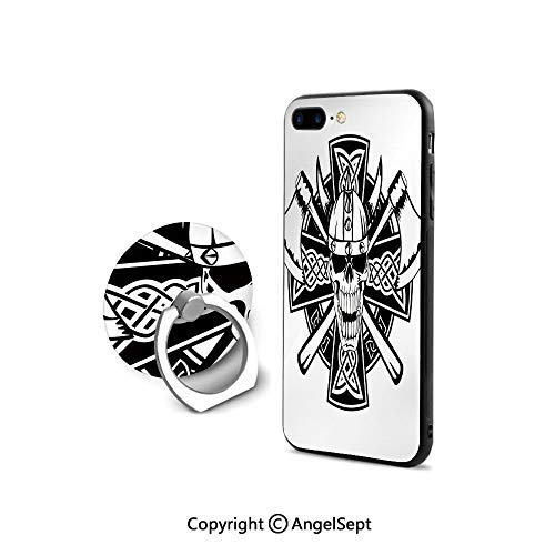 Case Compatible iPhone 8 & iPhone 7 (NOT Plus) with Ring Holder Kickstand,Celtic Skull Knight with Cross Axes and Knives Medieval Europe Iron Age Graphic,Retail Packaging,Black - Iron Embossed Crosses