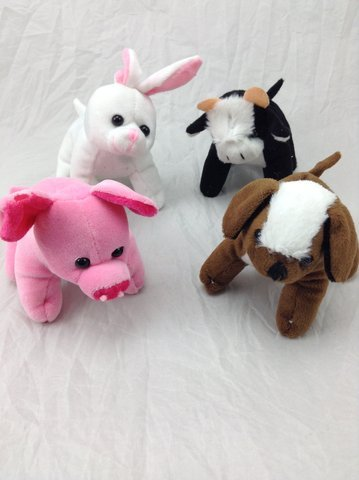 U.S. Toy SB543 Assorted Plush Stuffed Farm Animals (Pack of 12) ()