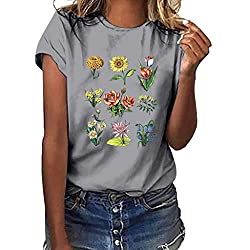 Women Tops Summer Plus Size Tops Casual Short Sleeve O Neck Tops Print T Shirt Blouse Tops Gray