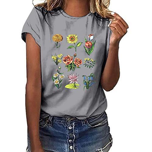 Sumen Summer Women Flower Print Short Sleeve T Shirt Tops for Teen Girls Gray
