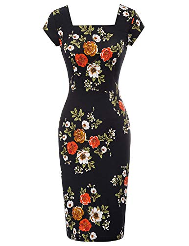 Belle Poque Women Plus Size Vintage Floral Cocktail Dress Cap Sleeve Retro Pencil Dress XL BP869-2 ()