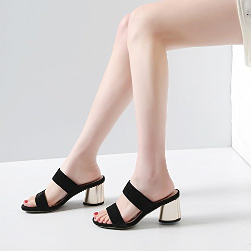 Sandals Rough Heel Slippers Spring and Summer Female Scrub Vamp Slippers Fashion Simple Open Toe Mid Heel Shoes High-Heeled Black t82vzY5K8