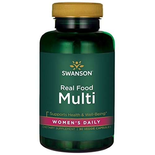 Real Food Multi Women's Multivitamin Multimineral Women's Health Urinary Tract Stress Response Bone Hair Skin Nails Support Supplement Vegan Gluten-Free Non-GMO 90 Veggie Capsules Veg Caps