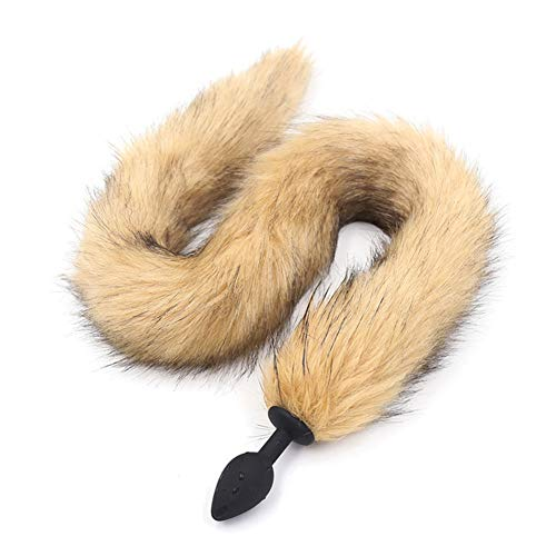 Tcouplesexy little Fox long Tail Silicone Plug loves Party Gift brownpatch and Feather zkq-4