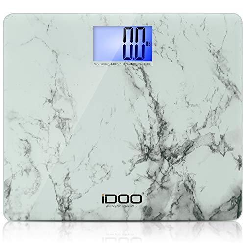 iDOO Digital Body Weight Bathroom Scale with Step-On Technology,High Precision Measurements,Large Platform LCD Display,440lb,Elegant Marble Design