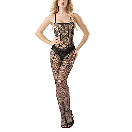 Sexy Bodystockings Cross Erotic Lingerie Fancy Halter Fishnet Intimates Babydoll ()