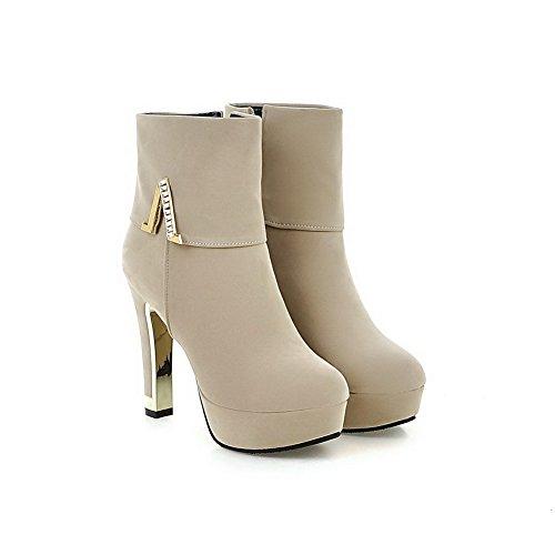 AgooLar Damen Reißverschluss Hoher Absatz Stiefel mit Beschlagene Strass, Cremefarben, 36