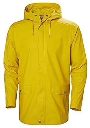 Helly Hansen Men's Moss Long Hooded Fully Waterproof Windproof Raincoat Jacket, 344 Essential Yellow, Small